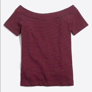 J.Crew Striped Off-The-Shoulder T-Shirt
